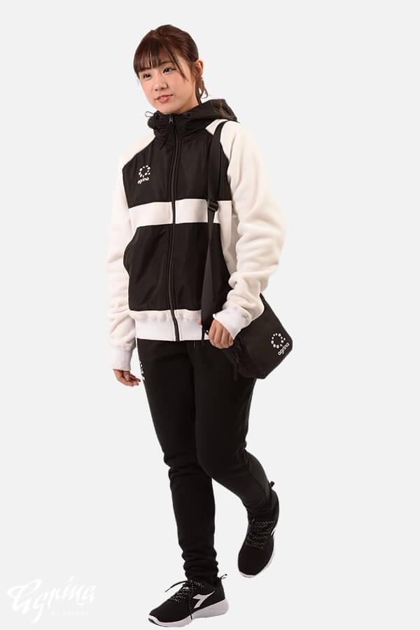 カレンタボアフリースジャケット  WhitexBlack