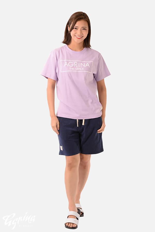 CRACKベルティカコットンTシャツ L.Purple