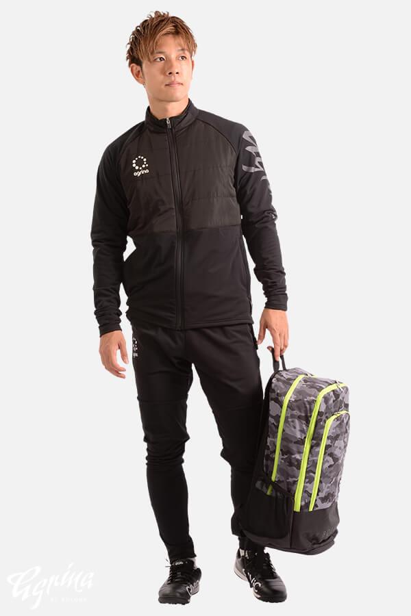 テルマ中綿裏起毛スムースフルジップトレーニングジャケット Black