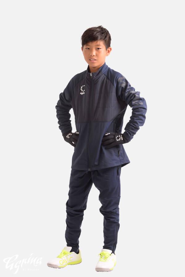ジュニアテルマ中綿裏起毛スムースフルジップトレーニングジャケット Navy